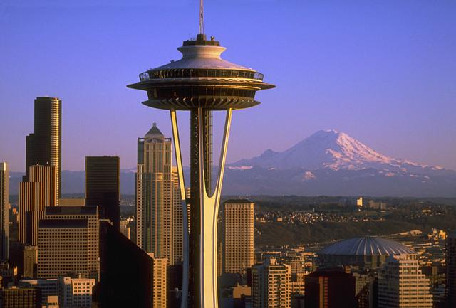 Space Needle and Mount Rainier